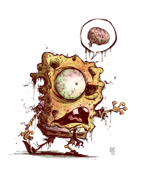 My son has become a Spongebob Zombie. So, there you go. Today's sketch… Spongebob Zombie.  8.5x11 cardstock, brush and ink. pen.  SOLD