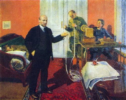 Lenin dictating a telegram at dawn in 1920, Igor Grabar, 1929