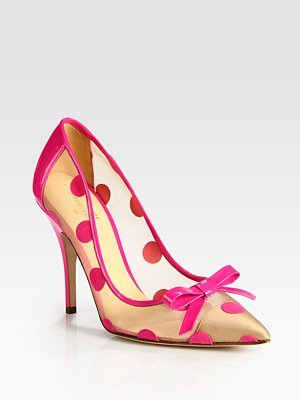 Kate Spade is killing me with these adorable pink polka dot mesh pumps. But $328 is probably a bit much for shoes this impractical, no?