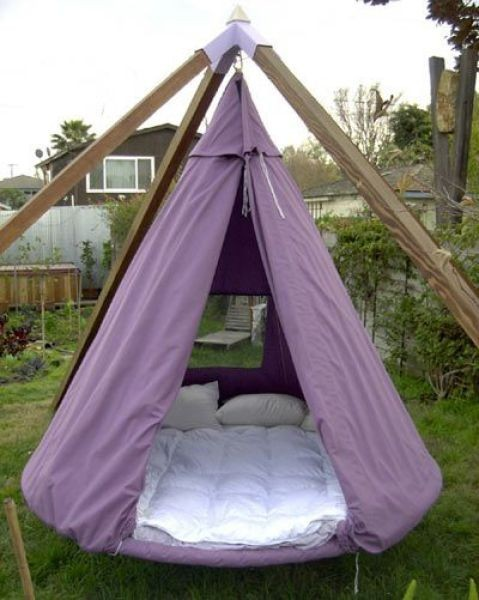 Reused trampoline! Love this!! back yard cuddling :)