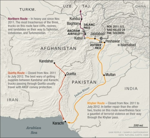 Stuck in the Mud: The Logistics of Getting Out of Afghanistan To get all its extra supplies out of Afghanistan, NATO needs to send one container over the Afghan border every seven minutes from now until 2015. With the Pakistan-Afghanistan border open again, much of that will travel southward. About a third, however, will make the even more perilous journey North, toward Tajikistan, Turkmenistan, and Uzbekistan. Given the conditions on these routes, NATO might not be leaving on time. Read more.
