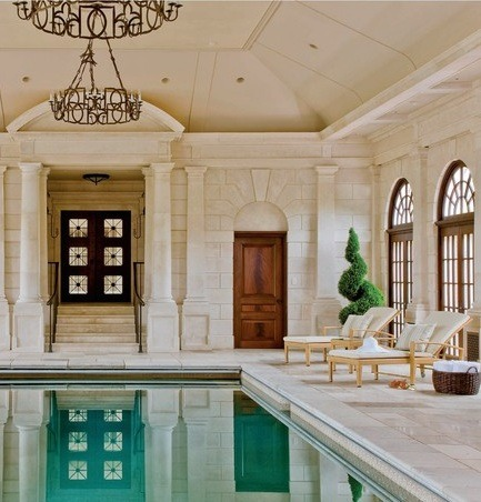 thefoodogatemyhomework:  Very casual limestone indoor pool pavilion attached to a 1929 brick Georgian revival in the Boston suburbs [[gape]].