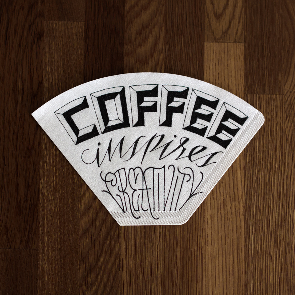 coffeemademedoit:  Coffee inspires creativity - The second of four coffee filters I did for Draw Coffee.