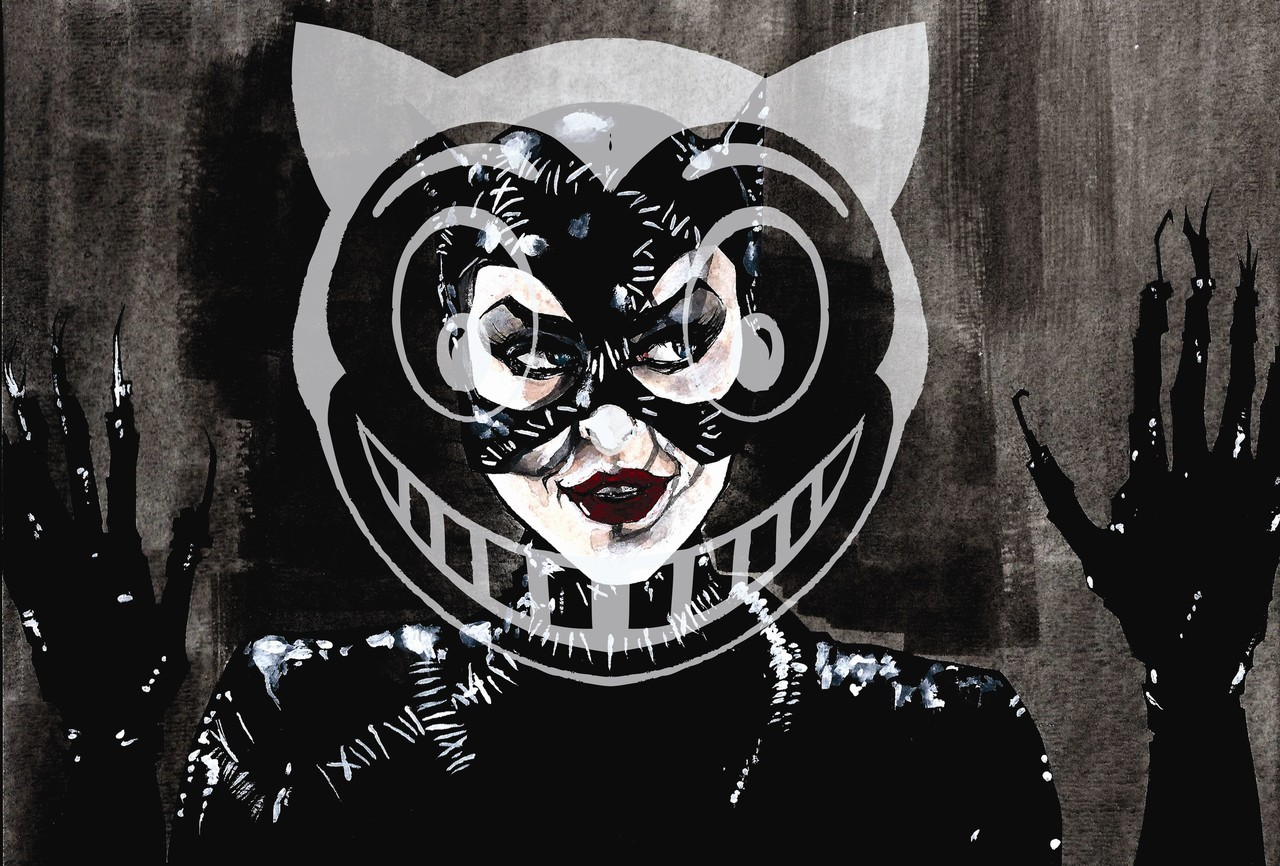 "Day 4 of ""The Dark Knight Rises"" Catwoman countdown: Michelle Pfeiffer ""Meow"". In 1992 Catwoman hit the big screen in Tim Burton's sequel ""Batman Returns"". Michelle Pfeiffer took on the role of Selina Kyle who starts off meek and shy and is transformed into the ferocious, sly and slinky Catwoman, after she is pushed out of a window by her corrupt boss. This Catwoman is much different from the comic book Selina Kyle but her wit, sexiness and strength are very true to the Catwoman's character. Michelle Pfeiffer as Catwoman. Illustrated by Christian Cimoroni. Pen and ink/watercolor"