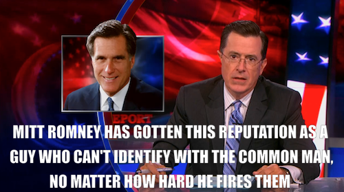 comedycentral:  Last night, Mitt Romney inspired Stephen to reach out and connect with the regular folks. Watch the clip or the full episode.