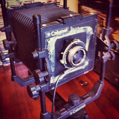 Old timey 4x5 camera #blurry #vintage #iphone #eddyizm #filmcamera  (Taken with Instagram)