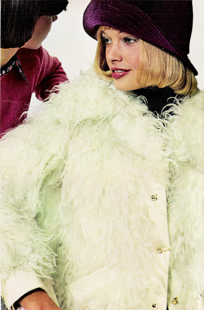 Models in fake fur coats for Seventeen magazine, September 1972.