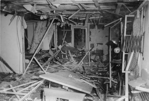 todayinhistory:  July 20th 1944: Assassination attempt on Hitler On this day in 1944, German Chancellor Adolf Hitler narrowly survived an assassination attempt in what became known as the July 1944 bomb plot. The plot was led by German Army Colonel Claus von Stauffenberg and several military figures who also planned a military coup d'etat after the assassination. The plan was to place a bomb under the table in a briefcase in a conference room in Hitler's Prussian Wolf's Lair headquarters. However, one of the attendees at the meeting moved the case behind the table leg with his foot, thus deflecting the blast from Hitler. The Gestapo arrested at least 7000 people in response to the attack and almost 5000 were executed.