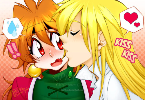 prettio:  Kiss Kiss by *Prettio I wanted to draw a new colour picture of Lina and Gourry so badly ¡ w ¡ so I started this drawing yesterday at night and finished it this morning. I know that the picture is a bit random and has some proportion mistakes, but I wanted to do something fast so I could continue inking the doujinshi. Thank you very much everybody for my birthday wishes, I'll try to answer now all the remaining comments on my main page ^_^ PaintTool SAI + Photoshop, Wacom Tablet, 3 hours