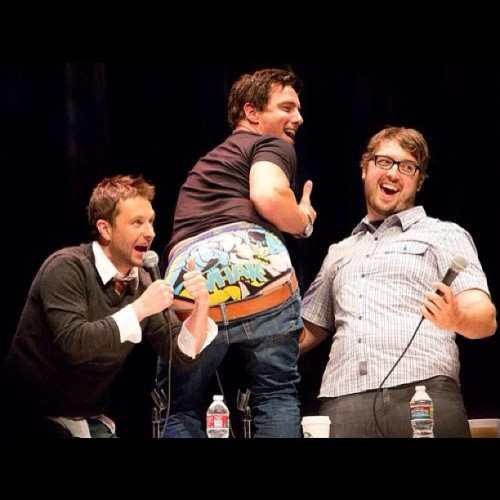 THANK YOU @trekkiebeth for capturing this @Team_Barrowman underpants moment at our SDCC podcast! (Taken with Instagram)