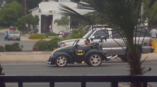 collegehumor:  Tiny Batmobile The prototypes always look a little different.  Yea I Have One Of Those.