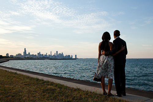 First Couple looking north to the skyline on the shore of Lake Michigan. via @SunTimes