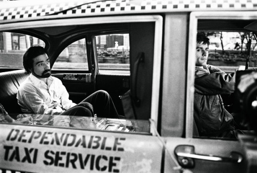 1976 - Taxi Driver miss-vesper-lynd:  Martin Scorsese and Robert De Niro on the set of Taxi Driver (1976). Photo by Steve Schaprio