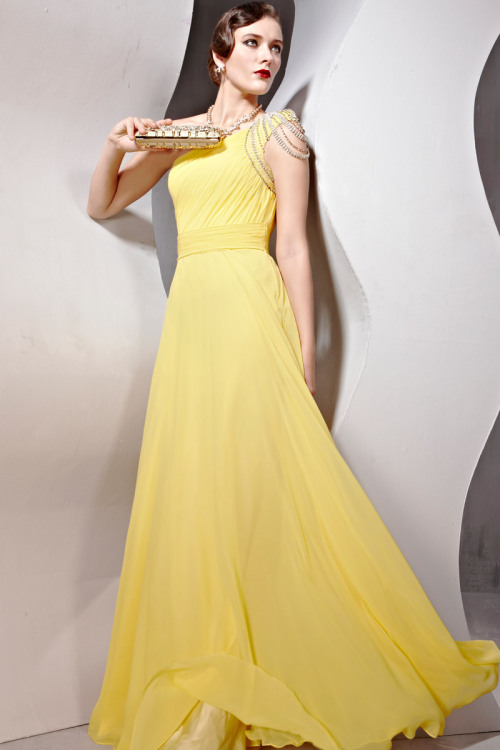celiont14:  New Yellow Cocktail Prom chiffon One Shoulder Draped Formal Long Evening Dress shop from Merpher.L