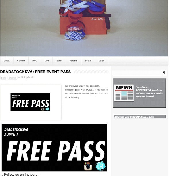 Want a #free #pass to this weekends #event ? Go to http://www.deadstocksva.com and find out how to get 1! #support #respect #basketball #sneakerhead #nt #jordans #retro #jordanhead #sneakers #niketalk #igsneakercommunity  #showmeyourfeetheat #walklikeus #kicksoftheday #wdywt #todayskicks #nikeallday #smyfh  #whatsonyourfeet #sneakerporn #swag #nba #s7 #igsneakers  (Taken with Instagram)