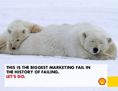 "Shell*: ""Internet, design our new marketing campaign for the drilling in the Arctic. We'll put whatever you come up with on billboards across the world."" Internet: ""What?! You're drilling in the Artic? You'll kill every…"" Rest of Internet: <nudge>,<wink>. Internet: ""… eh, we mean, sure! You want us to put our text, on your images, with your logo? That sounds like fun."" *not Shell, actually Greenpeace and The Yes Men. arcticready.com along with @ShellisPrepared combine to make possibly the most sophisticated brand attack ever. Ouch."