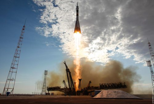Awesome shot of the Soyuz TMA-05M launch taken by Carla Cioffi/NASA.  This launch carried Yuri Malenchenko, Sunita Williams and Akihiko Hoshide to the International Space Station on Sunday July 15, 2012.