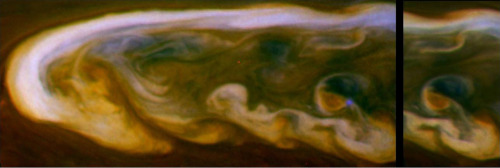 These false-color mosaics from NASA's Cassini spacecraft capture lightning striking within the huge storm that encircled Saturn's northern hemisphere for much of 2011.  The larger mosaic on the left of the panel shows the lightning flash, which appears as a blue dot. The smaller mosaic on the right is composed of images taken 30 minutes later, and the lightning is not flashing at that time.  See PIA14904 for a mosaic showing a wider view wrapping around the planet also in which some blue lightning is visible in the clouds.  The white arrow in the annotated version of this panel points to the location where the lightning occurred in the clouds. The optical energy of this and other flashes on Saturn is comparable to the strongest of the flashes on Earth. The flash is approximately 120 miles (200 kilometers) in diameter when it exits the tops of the clouds. From this, scientists deduce that the lightning bolts originate in the clouds deeper down in Saturn's atmosphere where water droplets freeze. This is analogous to where lightning is created on Earth.  This lightning flash appears only in the filter sensitive to blue visible light, and the images were enhanced to increase the visibility of the lightning.  Images taken using red, green and blue spectral filters are usually combined to create a natural color view. Because visible red-light images were not available, images taken using a spectral filter sensitive to wavelengths of near-infrared light centered at 752 nanometers were used in place of red. Also, the blue filter image was enhanced to increase the visibility of the lightning. The result is a type of false color image.  The images were obtained with the Cassini spacecraft narrow-angle camera on March 6, 2011, at a distance of approximately 2 million miles (3.3 million kilometers) from Saturn and at a sun-Saturn-spacecraft, or phase, angle of 83 degrees. These mosaics are simple cylindrical map projections, defined such that a square pixel subtends equal intervals of latitude and longitude. At higher latitudes, the pixel size in the north-south direction remains the same, but the pixel size (in terms of physical extent on the planet) in the east-west direction becomes smaller. The pixel size is set at the equator, where the distances along the sides are equal. This map has a pixel size of 12 miles (20 kilometers) at the equator.  The Cassini-Huygens mission is a cooperative project of NASA, the European Space Agency and the Italian Space Agency. The Jet Propulsion Laboratory, a division of the California Institute of Technology in Pasadena, manages the mission for NASA's Science Mission Directorate, Washington, D.C. The Cassini orbiter and its two onboard cameras were designed, developed and assembled at JPL. The imaging operations center is based at the Space Science Institute in Boulder, Colo.  Image Credit: NASA/JPL-Caltech/Space Science Institute