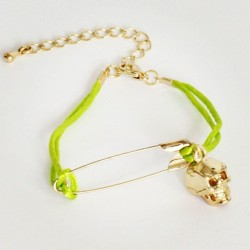 Mickey's Girl - Safety Pin Skull Lime Bracelet