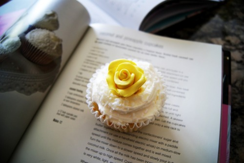 gastrogirl:  coconut and pineapple cupcake.