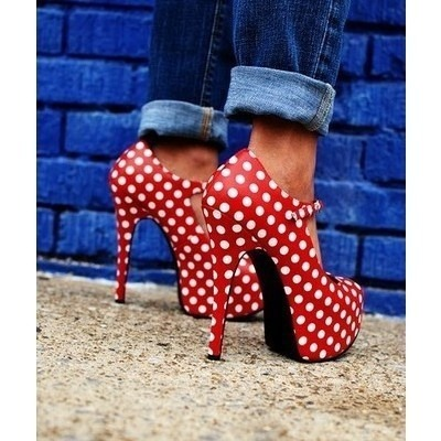 Polka dotted heels ! so adorable!'  Follow me :D