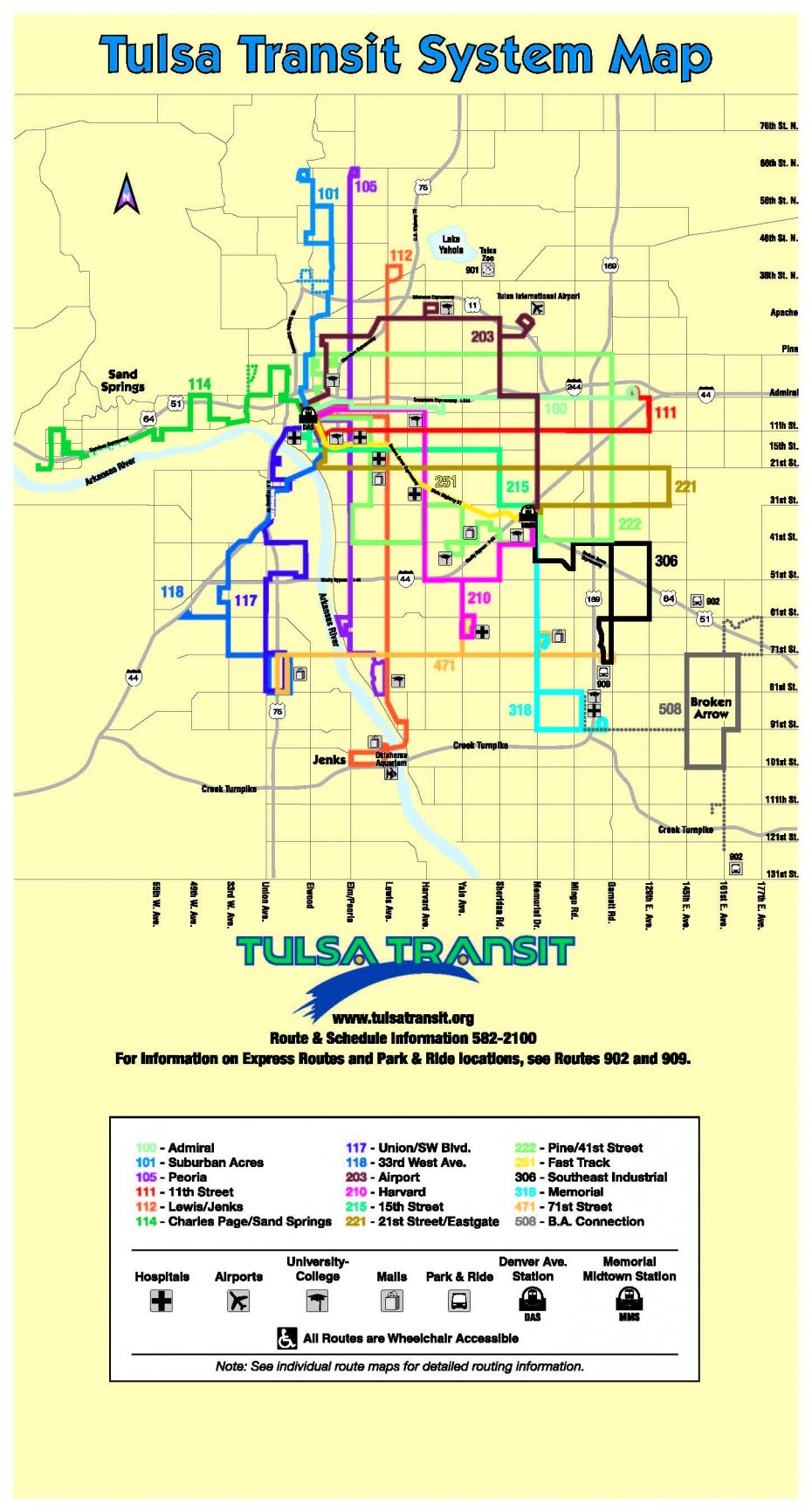 Official Map: Bus Routes of Tulsa, Oklahoma Time for another entry in the Worst Map Contest, and this one, from Tulsa, Oklahoma, is right up there with the very worst. Have we been there? No, and on the evidence of this map, I'm not sure I want to. What we like: I will say that the labelling of the street grid along the edges is actually a very clever idea that frees up the centre of the map for the routes. What we don't like: First off, the quality of the map is simply terrible: JPG artefacts from over-compression, resulting in blurry type and route lines. The typography, both of the map title and the transit agency logo, is appalling and seems to have escaped from 1984 or thereabouts. Poorly conceived, generic icons, some of which scale terribly down to the size used on the map. Look at the icon for Universities/Colleges: what is that? A palm tree?* The bus station icon fills in so badly that it's almost impossible to work out what it actually represents. The downtown area is terribly cramped and poorly drawn. There are dotted lines for some routes with no explanation of what that means in the key. There's a freakin' rainbow gradient in the north pointer. Our rating: Embarrassing. One star, and that's only because I'm reserving half a star for something truly heinous. Already, after just two blog posts, Michael Champlin's alternative map looks far more promising and definitely a project worth following as it unfolds.  (Source: Official Tulsa Transit website) *PS: Yes, I know it's a mortarboard cap and tassel, but it shouldn't be such hard work to see that. At the size it's used on the map, it becomes a blobby mess and could be just about anything.