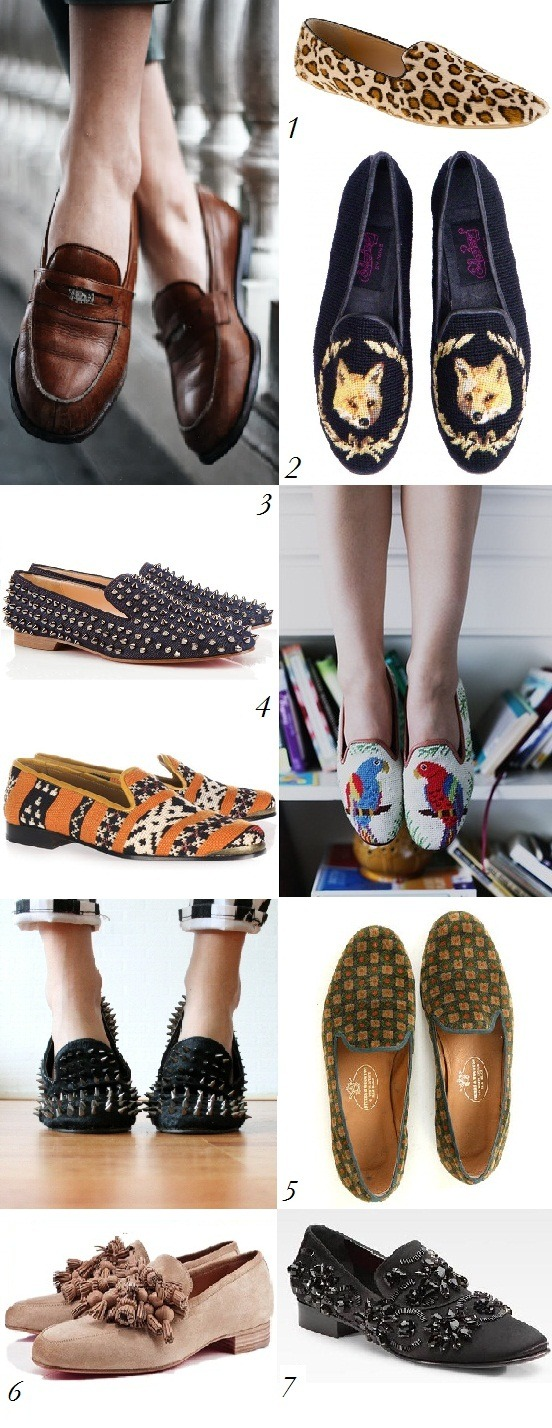 Trend Watch: Loafers Whether they are pastel, animal print, studded, embroidered, tasselled, embellished, or just for holding your spare change, these great shoe staples will take you from summer to fall with ease. 1. J Crew   2. By Paige   3. Christian Louboutin   4. Cobra Society   5. Stubbs and Wootton   6. Christian Louboutin   7. Giambattista Valli