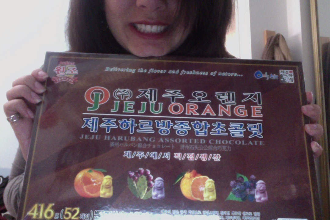 Soooo last night my wonderful cousin Sammy gave me a box of Korean chocolate for my birthday!  Transcontinental bonbons all day.