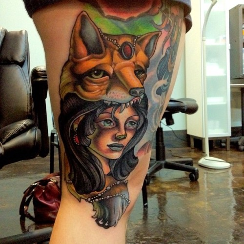 fuckyeahtattoos:  Foxy ladyyyy! Done by Timmy B at Black 13 Tattoo in Nashville.