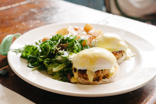 thebenediction:  Miss Lucy's Kitchen - Saugerties, NY Today's Benedict is a guest post from Jesse Lash.  Check out this beautiful Crab Cakes Benedict.  Doesn't get much better than this.  Lumps of Crab meat beneath a poached egg that somehow fits the exact diameter of the English Muffin, and topped with just the right amount of Hollandaise.  Don't want to drown that crab flavor in a sea of butter and lemon. Taste - 4.5 of 5Presentation - 2 of 5Originality - 4 of 5