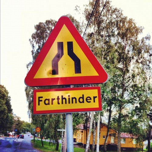My favorite Swedish sign of the day. FartHiinder (Taken with Instagram)