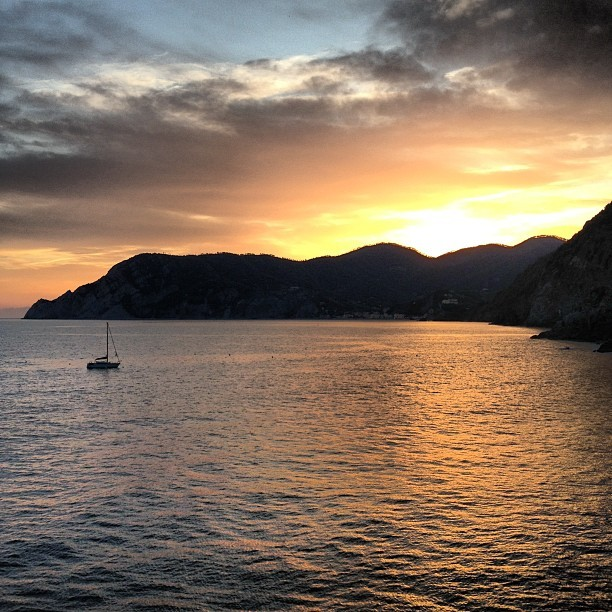 Sunset over Monterroso al Mare from Vernazza (Taken with Instagram at Ristorante Belforte)