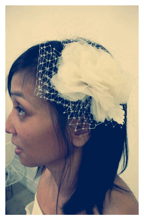 Elaine P ~ hand made silk organza flower fascinator with a hint of French netting by Trang Chau.