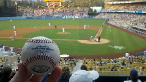 Wondering where you can snag a foul ball at Dodger Stadium? Debome got one in sec 117, which is just left of home plate. (via Dodger Stadium section 117 row F seat 2 - Los Angeles Dodgers vs San Diego Padres shared by debome)