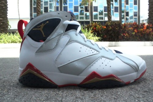 "Air Jordan VII - Olympic new pics of the Olympic VIIs coming this weekend. White/Silver uppers with Gold/Obsidian/True Red accents. click here for more pics and grab these July 21st  Related articles Air Jordan VII ""Olympic"" Retro (hypebeast.com)"