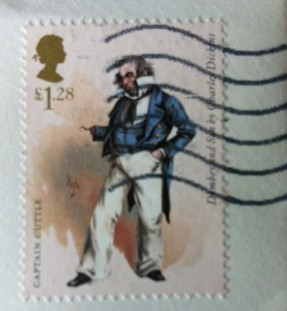 A Charles Dickens stamp on a letter from my UK pen pal, Jim.