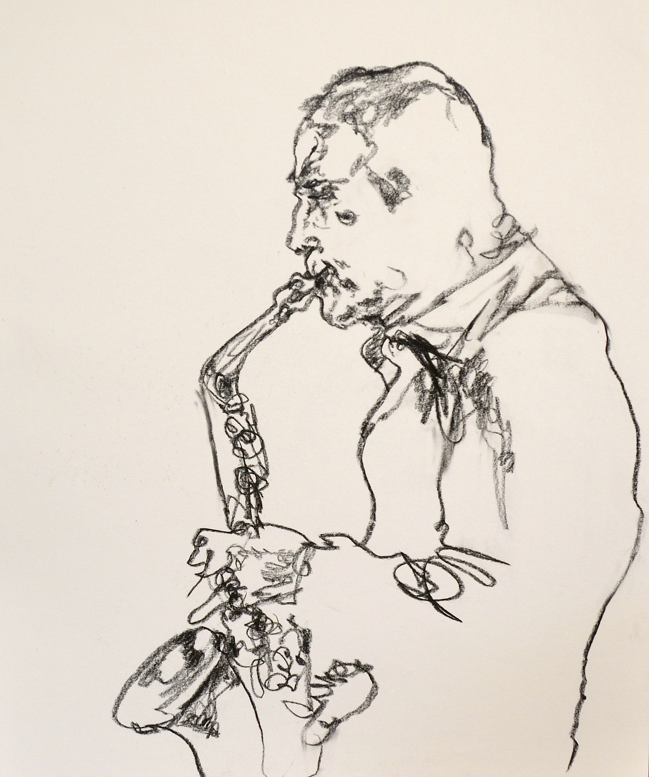 mountvision:  Jazz Sax Player playing in Midtown NYC, charcoal on paper. Gregory Muenzen