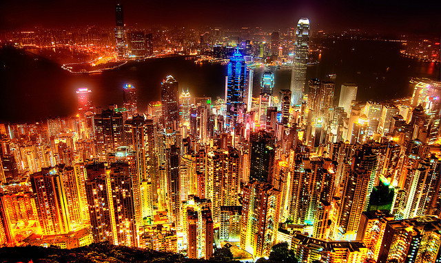 wanderlusting1:  The beautiful skyline of Hong Kong.