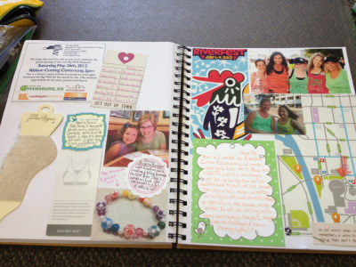 "Getting caught up on my scrapbook! What a fun afternoon at ""work."" :)"