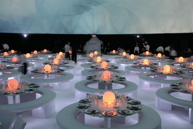 At the most recent VIP Google Zeitgeist event, dinner was featured under a 90 foot, full surround video dome, with 9 channel blending together into one massive 16 megapixel video on the 6,000 square foot display surface.