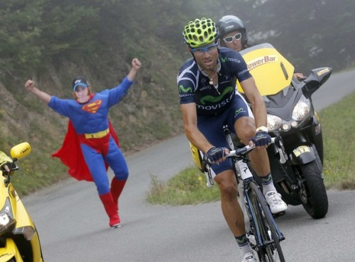 Movistar Team rider Alejandro Valverde of Spain cycles during the 17th stage of the 99th Tour de France cycling race between Bagneres-de-Luchon and Peyragudes, July 19, 2012. (via Photo from Reuters Pictures)