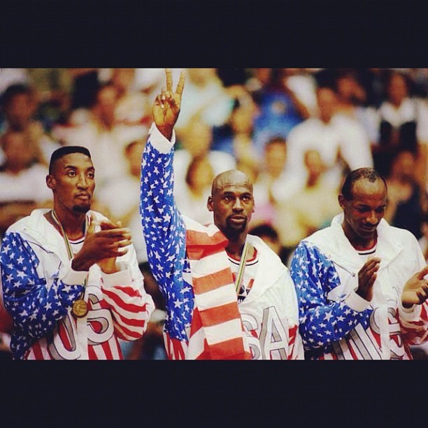 #1992 #dreamteam #basketball #usa #barcelona #spain #michaeljordan #scottiepippen #chicago #bulls #nba #olympics #sports #history (Taken with Instagram)