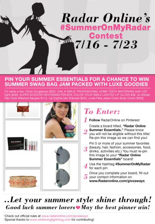 "#SummerOnMyRadar Contest  ..Enter NOW to win the most coveted designer items of the summer worth $1,600!!! All you need to do is ""pin"" you summer favorites!"