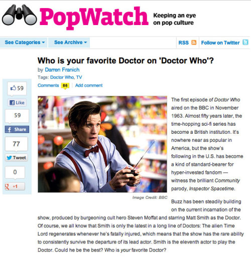 Entertainment Weekly wants to know who your favorite Doctor is. It's like asking you to pick your favorite air.  Because surveys are important.
