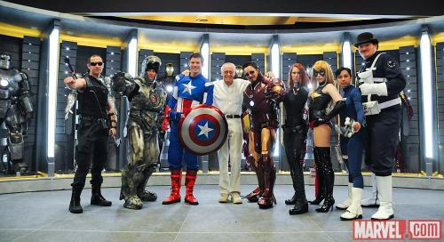 Stan Lee took some time out of his packed schedule at Comic-Con International: San Diego 2012 to pose on Marvel's stage with some excellent Avengers cosplayers! Photo by Judith Stephens