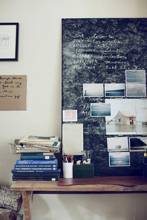 workspace with chalkboard inspiration board (via office.)