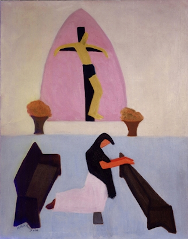 Milton Avery Modern artist Milton Avery (1885–1965), known as the American Matisse, created this work, Crucifixion, during a painting trip he took to Mexico in 1946. During his time in Mexico, Avery visited Frida Kahlo and Diego Rivera, among other notable artists, and was inspired by the colors and shapes of the landscape.