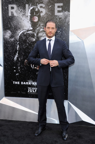 Also rolling in the Wolfpack, Tom Hardy in a navy Burberry suit to 'The Dark Knight Rises' NY premiere.