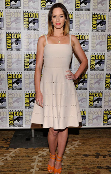 Emily Blunt in a Christian Dior dress with bright Sergio Rossi sandals to promote Looper at Comic-Con in San Diego.