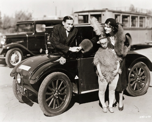 Johnny Eck with Mrs. Tod Browning and Koo Koo the Bird Girl during the filming of Freaks c. 1931